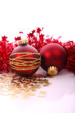 Christmas balls. Christmas red balls with gold pattern Stock Images