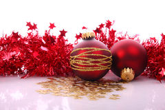 Christmas balls. Christmas red balls with gold pattern Royalty Free Stock Image