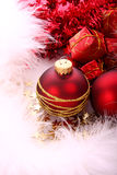 Christmas balls. Christmas red balls with gold pattern Royalty Free Stock Photography