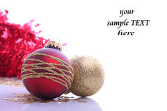 Christmas balls. Christmas red balls and place for sample text Stock Photos
