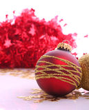 Christmas balls. Christmas red balls with gold pattern Royalty Free Stock Images