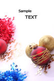 Christmas balls. Christmas red balls and place for sample text Stock Image