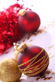 Christmas balls. Christmas red balls with gold pattern Stock Photos