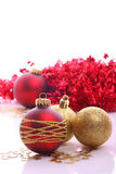 Christmas balls. Christmas  balls (red and gold Royalty Free Stock Images