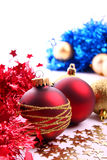 Christmas balls. Christmas  balls (red and gold Royalty Free Stock Image