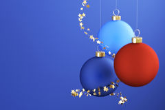 Christmas Balls. And ornaments over a blue background vector illustration