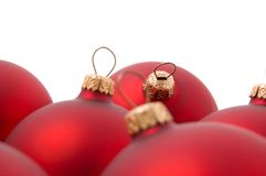 Christmas balls. Red christmas balls on a white background Royalty Free Stock Photography
