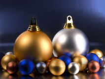 Christmas Balls. On a metallic blue background Stock Image