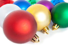 Christmas balls. Varicoloured christmas balls on white background Royalty Free Stock Photos