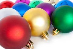 Christmas balls. Varicoloured christmas balls on white background Stock Photography