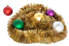 Christmas balls. Varicoloured christmas balls on white background Stock Photos