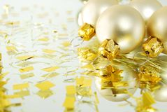 Christmas balls. A few white christmas balls with decorations royalty free stock photo