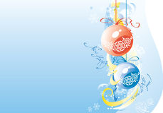 Christmas balls. Two christmas ball in snowflake background Stock Image