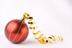 Christmas balls. And Gold Ribbon Royalty Free Stock Photo