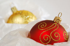 Christmas Balls. Stored in Tissue Paper. Shallow DOF royalty free stock photo