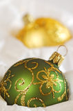 Christmas Balls. Stored in Tissue Paper. Shallow DOF stock photo