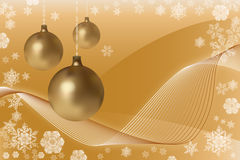 Christmas balls. Abstract yellow background  with christmas balls Stock Images