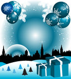 Christmas balls above the town. Abstract colorful illustration with gift boxes, fir trees, Christmas balls and building shapes Royalty Free Stock Photography