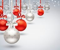 Christmas Balls Abstract Background. With red and silver balls hanging on ribbon with bow realistic vector Illustration Royalty Free Stock Image