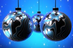 Christmas balls. Abstract background. 3D rendering. Christmass balls with blue abstract background stock illustration