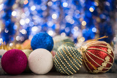Christmas balls on abstract background Royalty Free Stock Photo