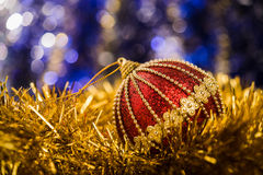 Christmas balls on abstract background Stock Photos