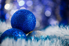 Christmas balls on abstract background Stock Photo