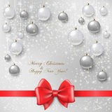 Christmas balls on abstract background. Realistic vector illustration Royalty Free Stock Photos