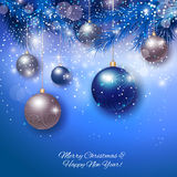 Christmas balls on abstract background. Realistic vector illustration Stock Image