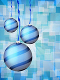 Christmas balls abstract bokeh blue Stock Photo