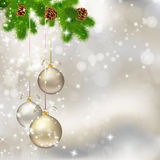 Christmas balls on abstract light grey background Stock Photos
