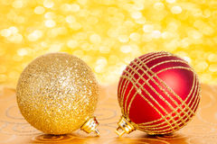 Christmas balls against lights Royalty Free Stock Photography