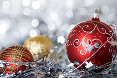Christmas balls against lights Royalty Free Stock Images