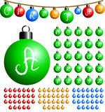 Christmas balls alphabet Royalty Free Stock Photos