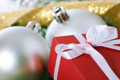 Christmas Balls And Box Stock Photo