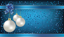 Christmas Balls And Stars Blue Background Stock Photos