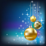 Christmas Balls And Stars Blue Background Royalty Free Stock Photography
