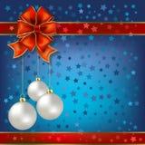Christmas Balls And Stars On A Blue Stock Photos