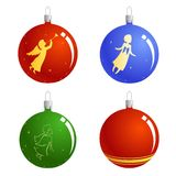 Christmas balls with angels Stock Photography
