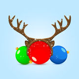 Christmas balls with antler Royalty Free Stock Photo