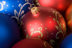 Christmas balls background. Christmas balls red and blue background Stock Images