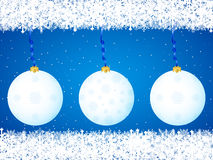 Christmas balls background blue Stock Images