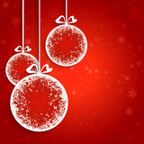 Christmas balls background. Decorative Christmas balls on red background Royalty Free Stock Image