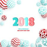3d Christmas Balls. Christmas Balls Background. Festive Xmas New Year Design with Place for Text. 3d Vector Imitation Stock Photography