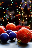 Christmas balls on the background lights. Stock Photography