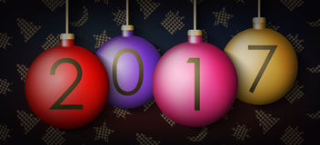 Christmas balls on background with New Year elements. Vector illustration. Happy New Year 2017 Christmas balls on background with New Year elements. Xmas Ball Royalty Free Stock Photography