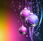 Christmas Balls Background with Raibow colours Stock Photos