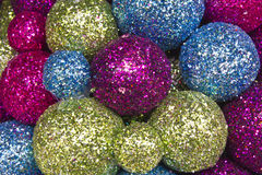 Christmas Balls Background. Red, Green and Blue Christmas Decorations for Background stock image