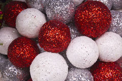 Christmas Balls Background. Red and White Christmas Decorations for Wallpaper or Background stock photography