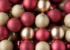 Christmas balls background. Christmas red and yellow balls background Stock Photos